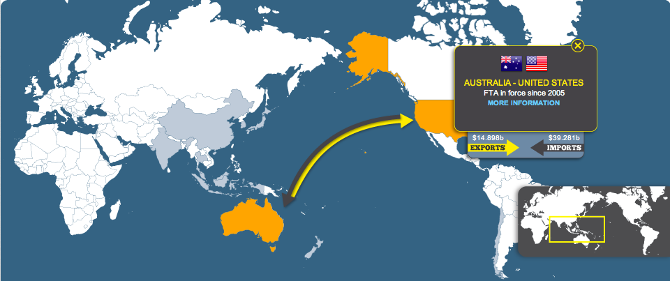 Map Australias Trade Relationships With Other Countries
